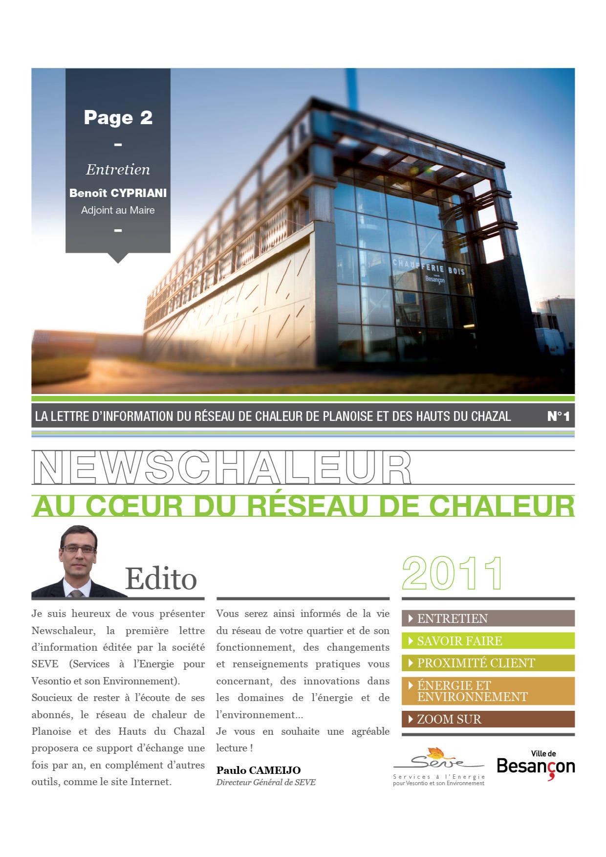 Newsletter chauffage urbain Besançon